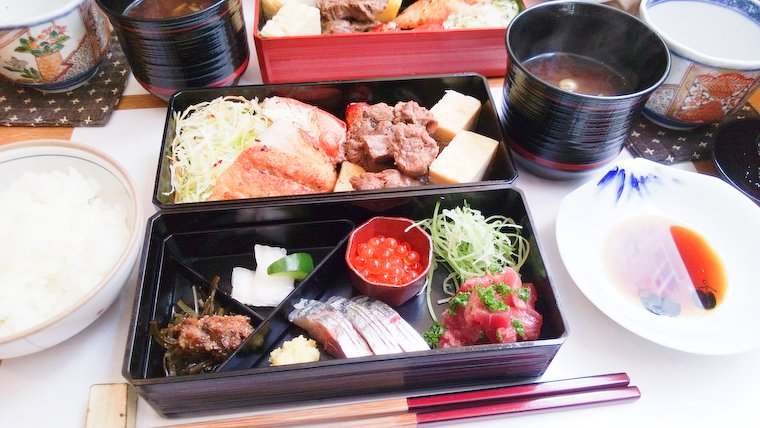 Rice, bento box, miso soup