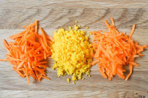 Grated carrots, three ways