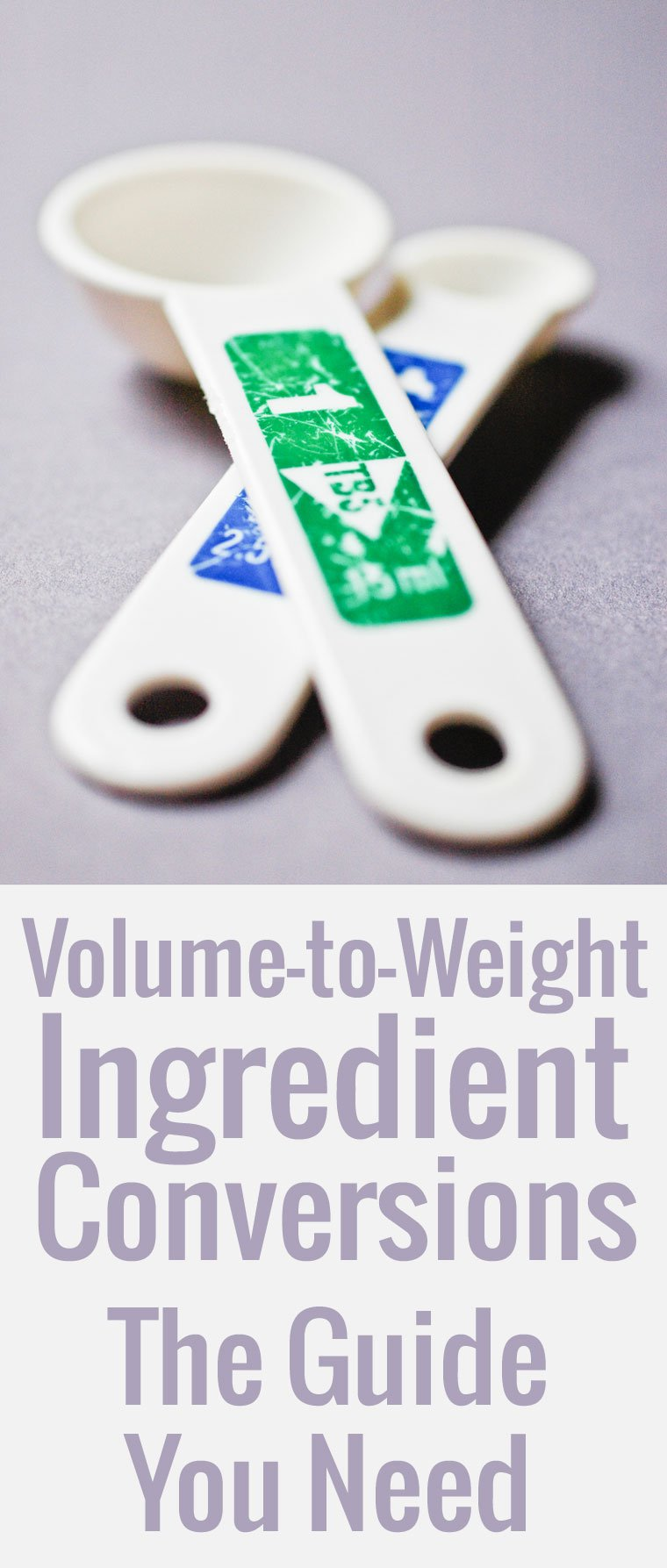 A handy guide to Volume-to-Weight Conversions, ingredient by ingredient, so