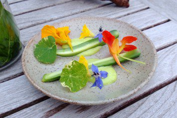 Cucumber and nasturtium at In De Wulf.