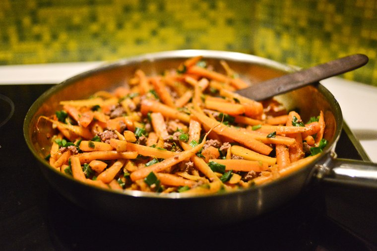 Spiced Carrot and Ground Beef Stir-Fry Recipe