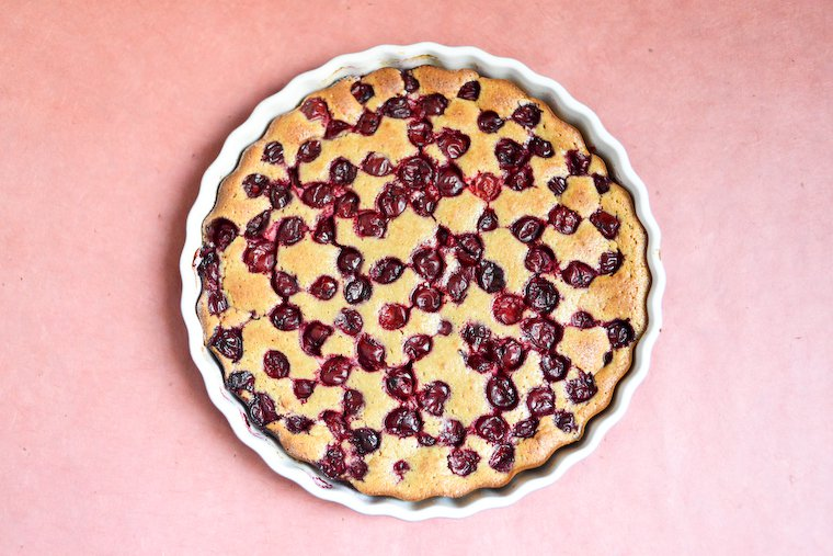 Sour Cherry Clafoutis with Chestnut Flour