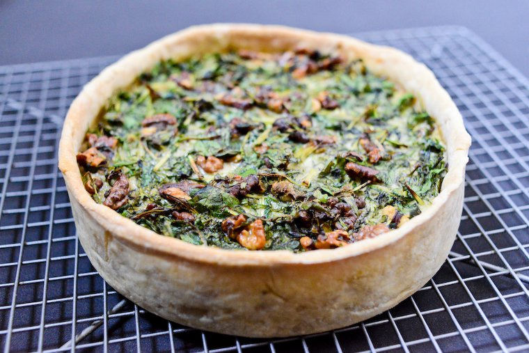 Greens and Walnut Quiche Recipe