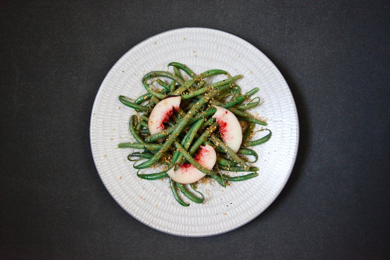 Green Bean and Nectarine Salad with Spicy Gomasio Recipe