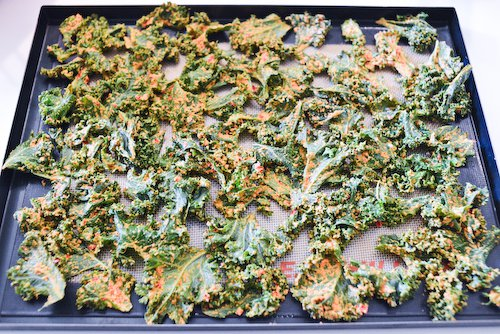 Kale on baking sheet