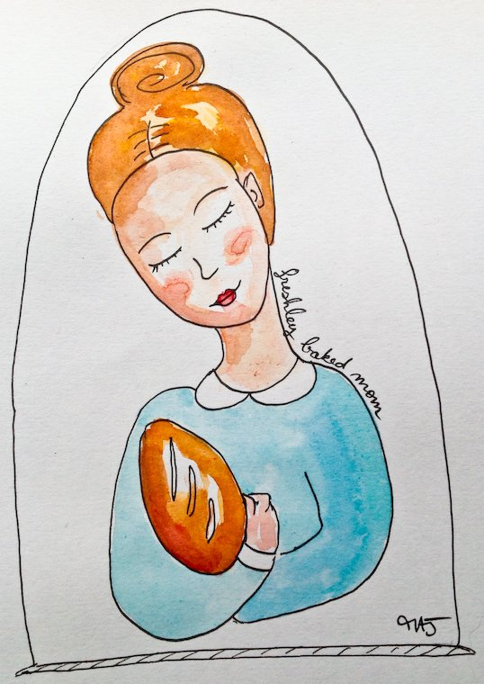 """Freshly baked mom"", a German expression illustrated by Melina Josserand."