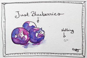 """Just blueberries"", a Norwegian expression illustrated by Melina Josserand."