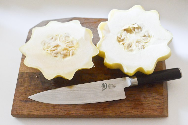 Pattypan squash, easily sliced in two after simmering (using my beloved chef's knife).