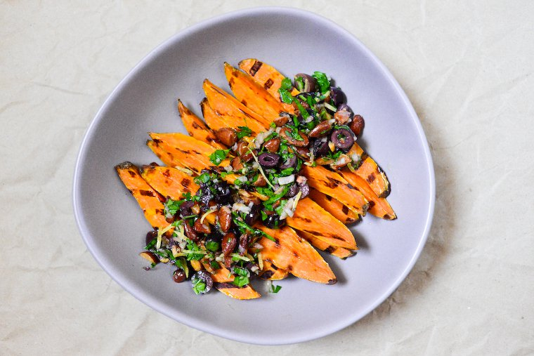 Grilled Sweet Potatoes with Black Olives and Almonds