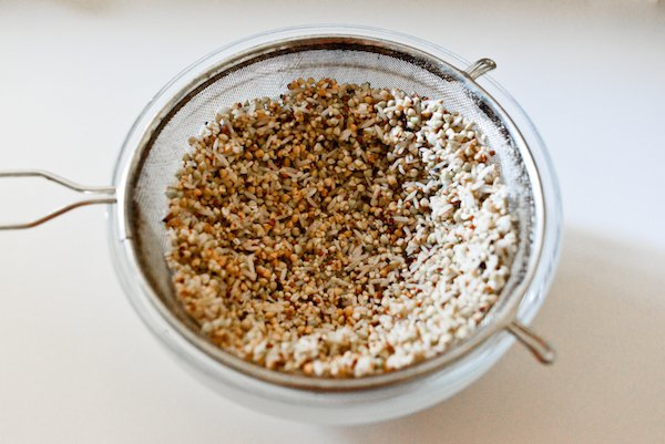 Sprouted Buckwheat Waffles: Seeds sprouting