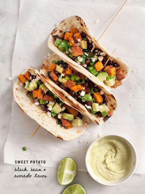 Sweet Potato Avocado Tacos, recipe and photography by Jeanine Donofrio.