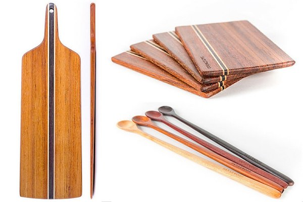 Bread board, set of mini cutting boards, and set of tasting spoons from Earlywood.