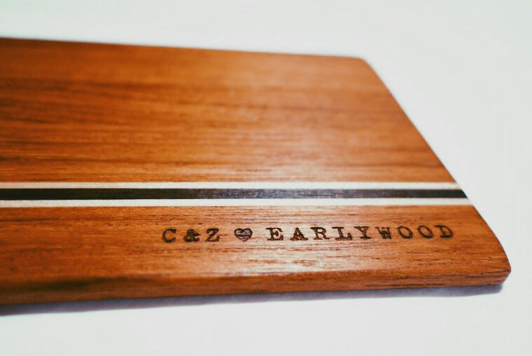 Custom-engraved Earlywood C&Z Cutting Board