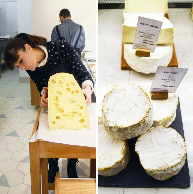 (L) Laure cuts a large piece of Emmental with a wire, (R) Bloomy rinds from a cow's milk cheese, Chaource.