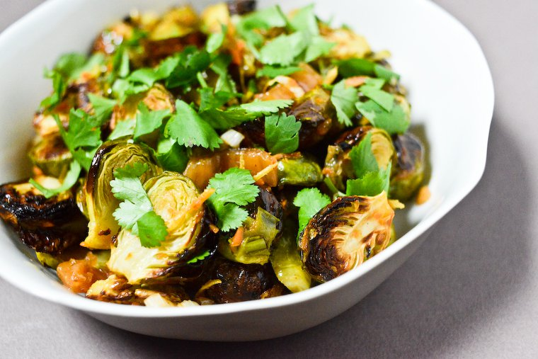 Roasted Brussels Sprouts with Ginger and Kimchi