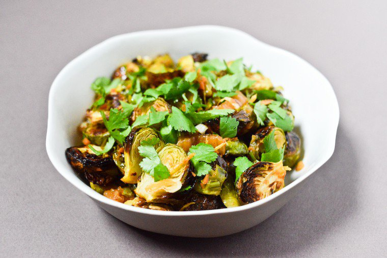 Roasted Brussels Sprouts and Ginger with Kimchi Recipe