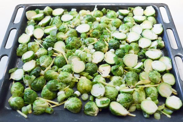 Brussels sprouts on roasting tray