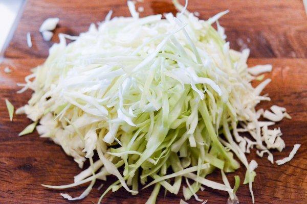 Homemade Kimchi: Sliced cabbage