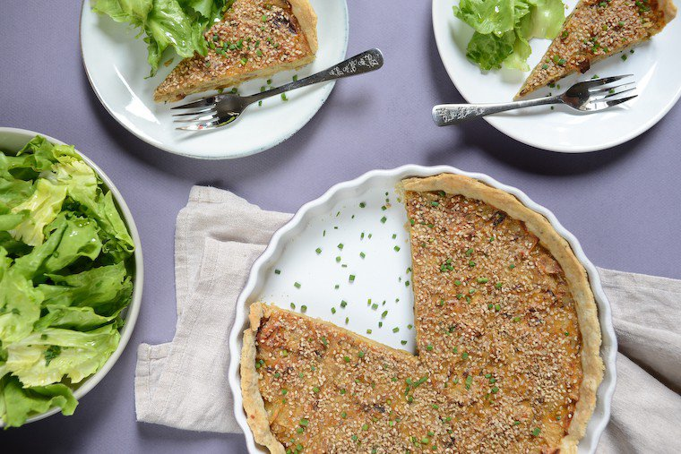 Roasted Onion Quiche with Sesame Recipe