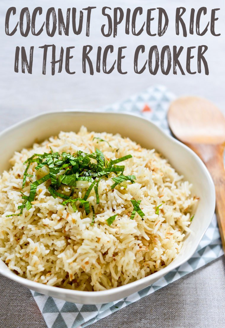 Coconut Spiced Rice in the Rice Cooker: An extraordinarily easy recipe for coconut spiced rice you can put together in minutes using your rice cooker. Effortless yet fabulous side for any curry!