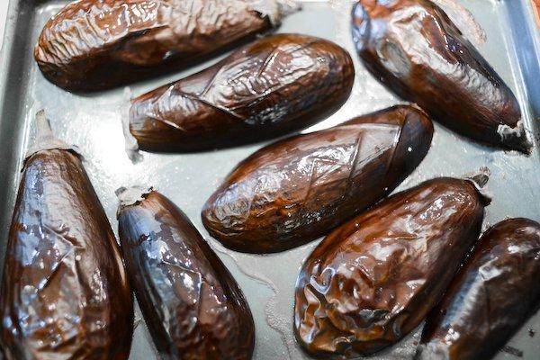 Bake the eggplant until soft
