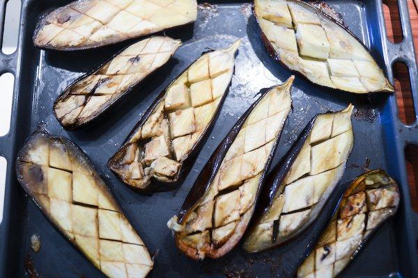 Baked eggplant, flesh side up