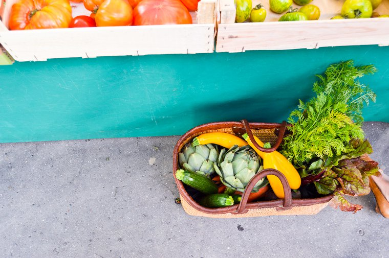 Basket of produce at the market