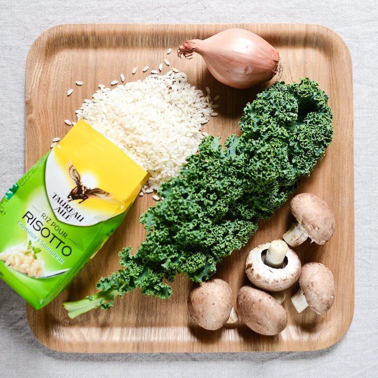 30-minute vegan risotto with kale and mushrooms