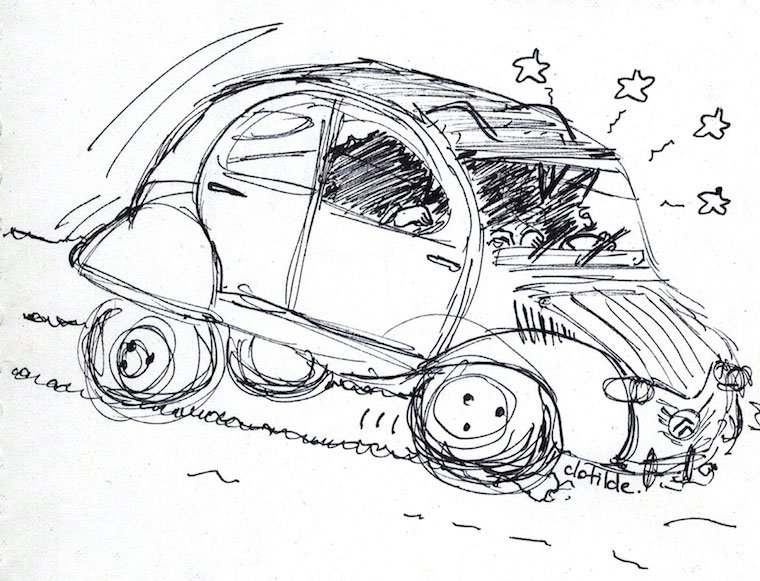 My sketch of Hergé's 2CV