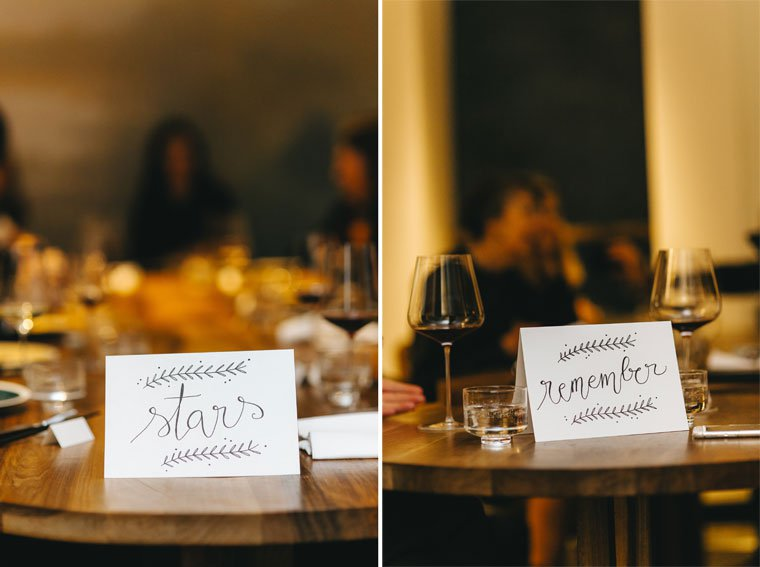 Hand-lettered wedding table cards