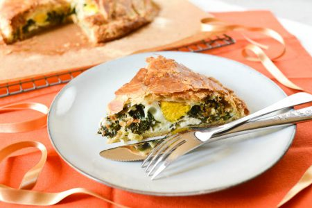 French Easter Pie with Spinach and Goat Cheese