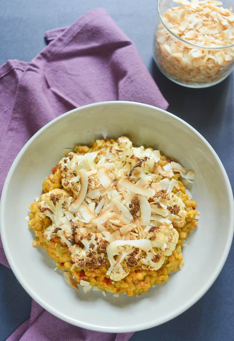 Red Lentil Curry with Cauliflower and Coconut Chips